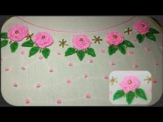Embroidery Neck Designs, Basic Embroidery Stitches, Hand Embroidery, Silk Ribbon, Pink And Green, Beautiful Flowers, Roses, Neckline, Blouse