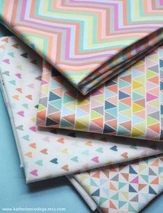 pastels FQ bundle - original fabric - fat quarters - hearts, triangles, pinwheels, chevron