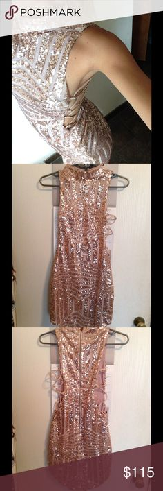 Sparkly pink dress Beautiful, pink champagne colored dress with criss cross sides up the ribs. Purchased at LF about a year ago for $235. It's only worn once (briefly) so it's still in brand new condition. I don't want to get rid of this but it no longer fits appropriately lol. Dresses Mini