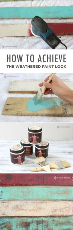 How to Achieve the Weathered Paint Look Down Home Inspiration has the key to achieving the perfect distressed, rustic paint look. These DIY tips and tricks are sure to help you capture a charming country feel in your space. Distressed Furniture, Rustic Furniture, Diy Furniture, Homemade Furniture, Furniture Plans, Antique Furniture, Furniture Design, Distressed Signs, Backyard Furniture