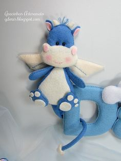 Could be a baby dragon or hippo angel for the baby's name banner for a little boy in felt...NO patterns