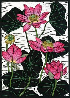 Sacred Lotus II, by Rachel Newling. Hand-coloured linocut on handmade Japanese paper, 49 x 35 cm Pichwai Paintings, Mural Painting, Silk Painting, Australian Native Flowers, Australian Artists, Botanical Illustration, Botanical Prints, Flannel Flower, Art Aquarelle