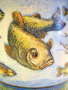 Go Fish Coffee Mug Sherri Buck Baldwin Artist Minnows Bait Crawlers Trout Lake