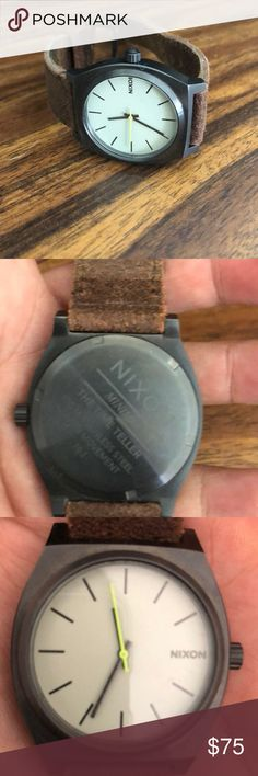 Nixon time teller watch with leather band excellent condition face is a gun metal worn only a few times Nixon Accessories Watches