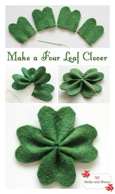 Make a Four Leaf Clover for Saint Patrick's Day. A simple to follow DIY felt shamrock tutorial, brought to you by Molly and Mama.