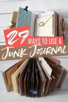 handmade journals 27 Ways to Use a Junk Journal - Full of more ideas for how to use your junk journal from organizing to memory keeping to art, this guide will inspire you to use your junk journal in all new ways. Junk Journal, Memory Journal, Journal Cards, Journal Ideas, Diy Journaling Cards, Journal Entries, Journal Prompts, Handmade Journals, Handmade Books