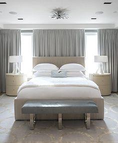 Cara Zolot   BROOKLYN Bed between two windows - GREAT IDEA for a bed between two windows! :)