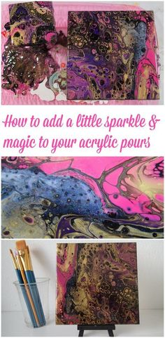 Acrylic pouring video. How to create cells with a flip cup dirty pour and how to add a little sparkle and magic with a secret ingredient!