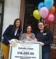 Congrats to Estella Colon of Philadelphia, PA! She received a visit from the Prize Patrol and a big check for $10,000 today!