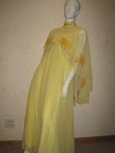 Halloween Costume Vintage Yellow Chiffon Gown Painted Caplet Disco Gal Fairy   eBay