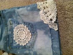 DIY shorts from jeans and lace