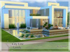 Sims 4 Modern House, Big Modern Houses, Modern Family House, Sims 4 House Design, Modern House Plans, Sims 4 House Plans, Sims 4 House Building, Lotes The Sims 4, Sims 3