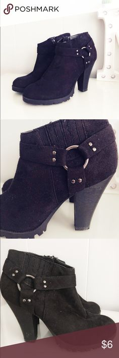 3b91165534396 Cute Black Booties! These cute suede black booties are perfect for this  fall and winter! Minor used cuffs but all still in excellent condition.