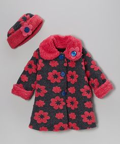 Navy & Pink Flower Sweet Pea Coat & Hat - Infant, Toddler & Girls