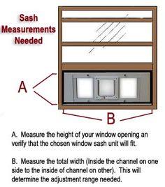 Measuring the track width for  sash window pet door