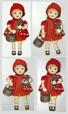 Little Red Riding Hood Articulated Paper Doll For Scrapbooking Or Framing Signed By Artist, Jo James Little Red Ridding Hood, Red Riding Hood, Vintage Pictures, Vintage Images, Charles Perrault, Graphisches Design, Vintage Paper Dolls, Paper Toys, Vintage Cards