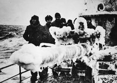 Grey wolves sail on their icy ship, looking for a convoy somewhere on the North, ca. 1943.