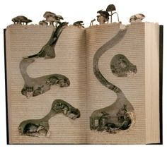Nothing quite like burrowing into a good book - David H. The Bergdorf Goodman Swipe: Photo Paper Book, Paper Art, Cut Paper, Book And Coffee, Book Crafts, Paper Crafts, Art Altéré, Tunnel Book, Altered Book Art