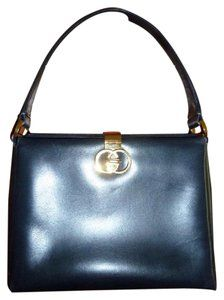 b7c8abaf792f Gucci True 1960 s Mod Early Kelly Style Hard   Boxy Shape Mint Vintage  Satchel in navy blue leather