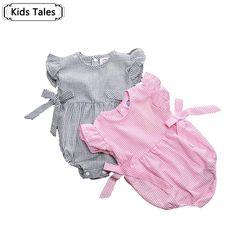 SR073 ins * 2016新しい女の子ピンク縞模様の弓デザインジャンプスーツ夏コットンオーバーオールかわいい美しい女の子服子供服