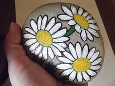 ~White daisies painted rock shasta daisies by missytodd1 on Etsy, $18.00~