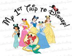 1st Trip to Disney Princess Iron On Tshirt by TwelveBradburyLane