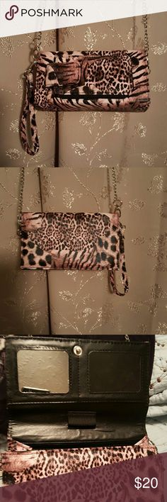 RFID PROTECTION CROSSBODY BAG Pink Leopard  print small crossbody with removable chain strap with loop strap on side to carry as wristlet with built-in RFID protection of  credit card theft Bags Crossbody Bags