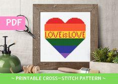Love is Love Cross Stitch Pattern, LGBT Cross Stitch, Gay Valentine Gift Cross Stitch, Gay Heart Pattern, Rainbow Heart Cross Stitch Pattern Gay Valentines, Valentine Day Gifts, Heart Patterns, Cross Stitch Patterns, Cross Stitch Heart, Rainbow Heart, Palette, Symbols, Chart