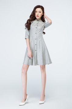 vestido gris claro camisa de vestir vestido de lino vestido