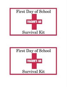 printable for Teacher survival kit.