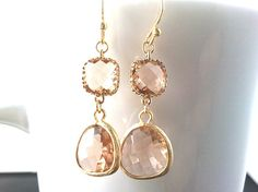 Autumn in Love Champagne Gold Earrings Drop by LaLaCrystal on Etsy