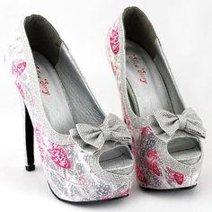 Show Story Silver Butterfly Print Bow Platform High Heel Stiletto Pumps,LF80814 -- $34.99