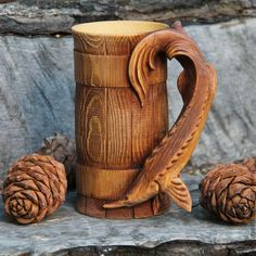 """Купить Большая кружка """"Осетр"""" - коричневый, кружка большая, деревянная кружка, кедр, Осетр, подарок"""