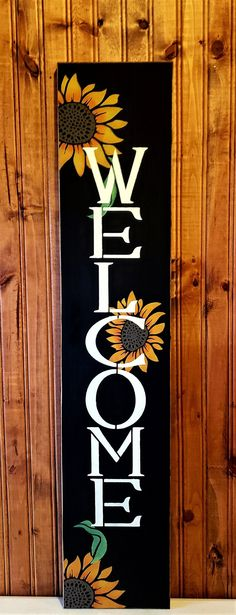 Welcome Signs Front Door, Wooden Welcome Signs, Primitive Wood Signs, Rustic Signs, Scrap Wood Projects, Fall Projects, Chalk Writing, Small Sunflower, Popular Crafts