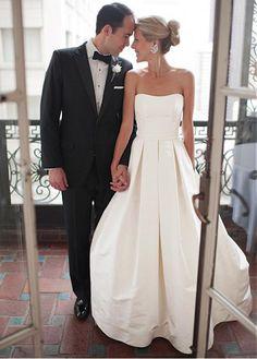 Elegant Satin Strapless Neckline A-line Wedding Dress with Handmade Bowknot