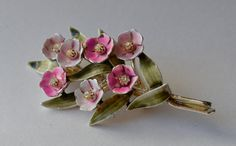 Enamel Flower Brooch Pink Vintage by Violasvintages on Etsy, $24.00