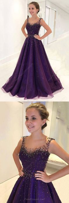 Purple Prom Dresses,Long Prom Dresses,Ball Gown Prom Dresses Scoop Neck, Modest Formal Evening Dresses Tulle Beading