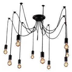 Edison Bulb Chandelier 10 Pendants, Matte Black | Ohr Lighting