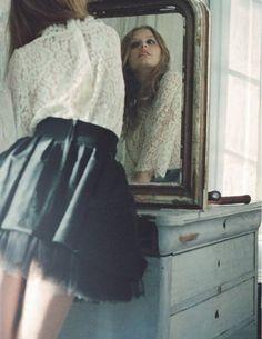 fashion, girl, mirror, vintage