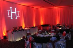 Drapery Behind Head table with Gobo Disc and Uplighting