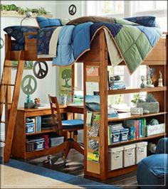 Space utilizing arrangement for a teenage boy's room