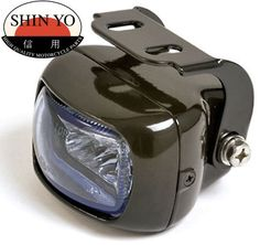Shin Yo Rectangular Motorcycle Projector Fog Light Black or Chrome Led Motorcycle Headlight, Brat Bike, Scrambler Motorcycle, Motorcycles, Bike Gadgets, Bike Design, Motorcycle Accessories, Chrome, Lights