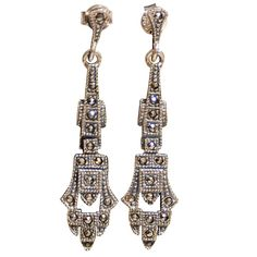 Art Deco Sterling and Marcasite Earrings  American  Circa 1925