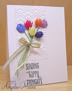 WT470 Rainbow Tulips by Arizona Maine - Cards and Paper Crafts at Splitcoaststampers