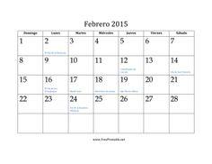 Calendario de Febrero de 2015 imprimir gratis