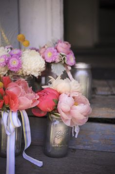 Farm Inspired Bridal Shower : Mason jars painted from the inside with silver paint! Design by Couture Events by Lottie, photo by Stephanie Rose Wedding Blog, Diy Wedding, Wedding Flowers, Wedding Ideas, Garden Wedding, Elegant Wedding, Wedding Photos, Wedding Reception Decorations, Wedding Centerpieces