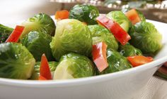 Add some red and green to your holiday dinner table—serve our tasty Red Pepper Brussels Sprouts! #HolidayHelper