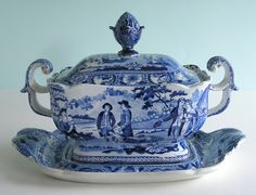 Very Rare ~ BEEMASTER ~ Small Staffordshire Pearlware TUREEN & TRAY c1820 NoResv #Americana #Staffordshire