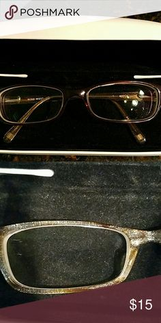 Nine west frames Frames are in good condition..wore them gently for a year. Mostly at night before bed.  Frames are the most expensive part of getting glasses. You can pop out my lenses and have your eye doctor make a pair of your prescription lenses to fit these frames.  These frames retailed for $180..i got them for wholesale due to my insurance . Nine West Other