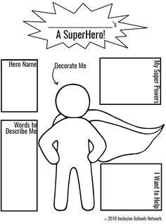 Super Hero Coloring Page Elegant Champions Of Inclusion isw Activities – Colorir. Superhero Preschool, Superhero Classroom Theme, Superhero Kids, Classroom Themes, Superhero Art Projects, Superheroes For Kids, Superhero Writing, Design Your Own Superhero, Create A Superhero